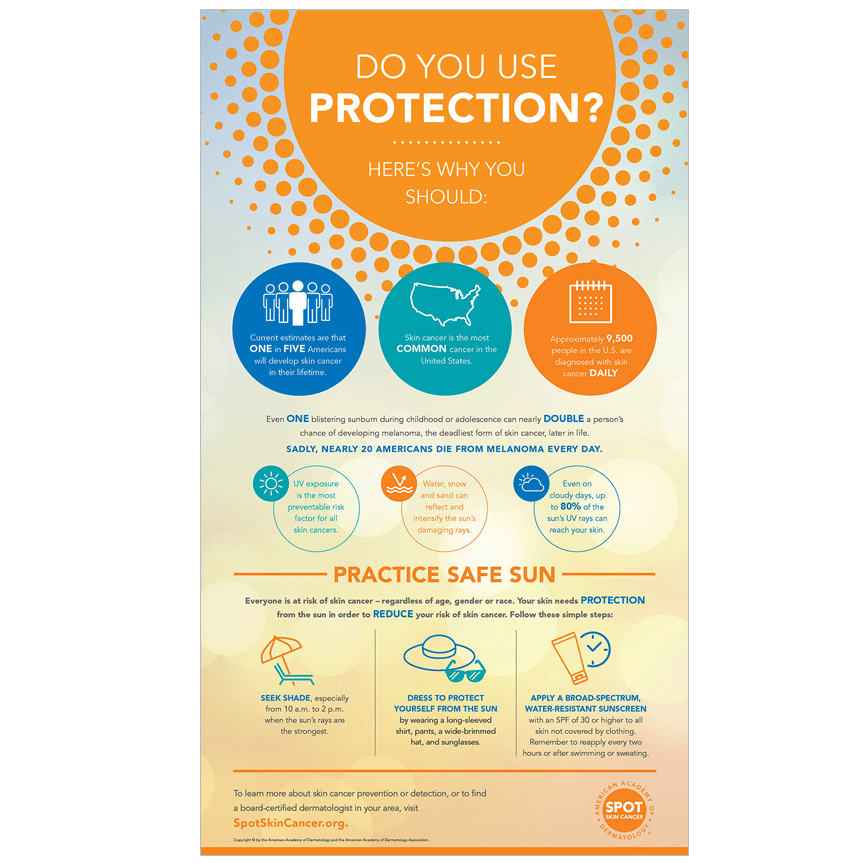 "Use this infographic as a reminder to ""practice safe sun"" to reduce your risk of skin cancer."