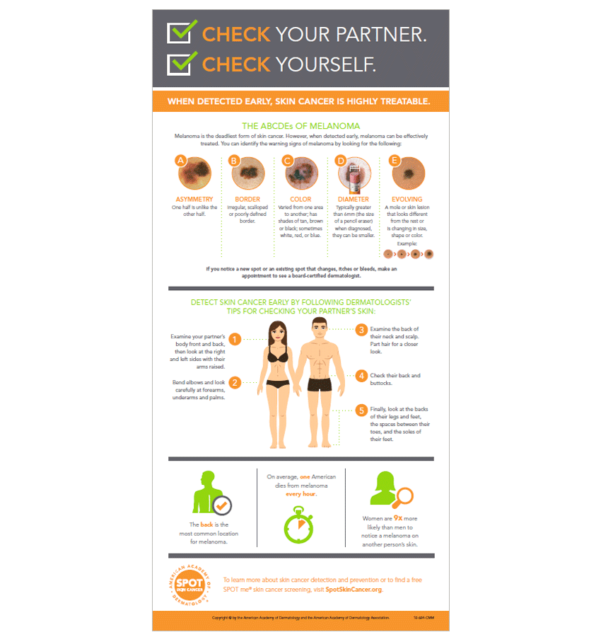 The American Academy of Dermatology recommends that everyone check their skin and their partner's skin regularly for any new or suspicious spots. This infographic explains how to perform a skin exam from head to toe and what signs to look for on the skin.