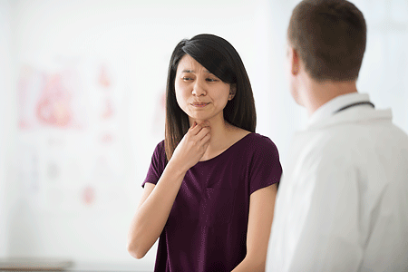 A women telling her doctor about her sore throat during doctor's appointment.