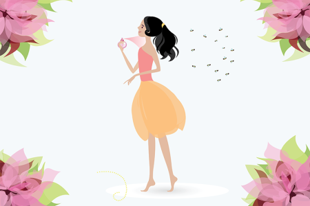 Illustration of woman spraying perfume on herself
