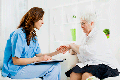 Doctor checking psoriasis on senior woman's patient hand