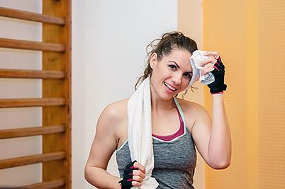 Sweaty gym woman