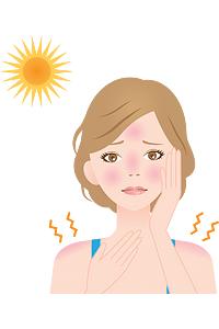 Illustration teen girl with sunburn