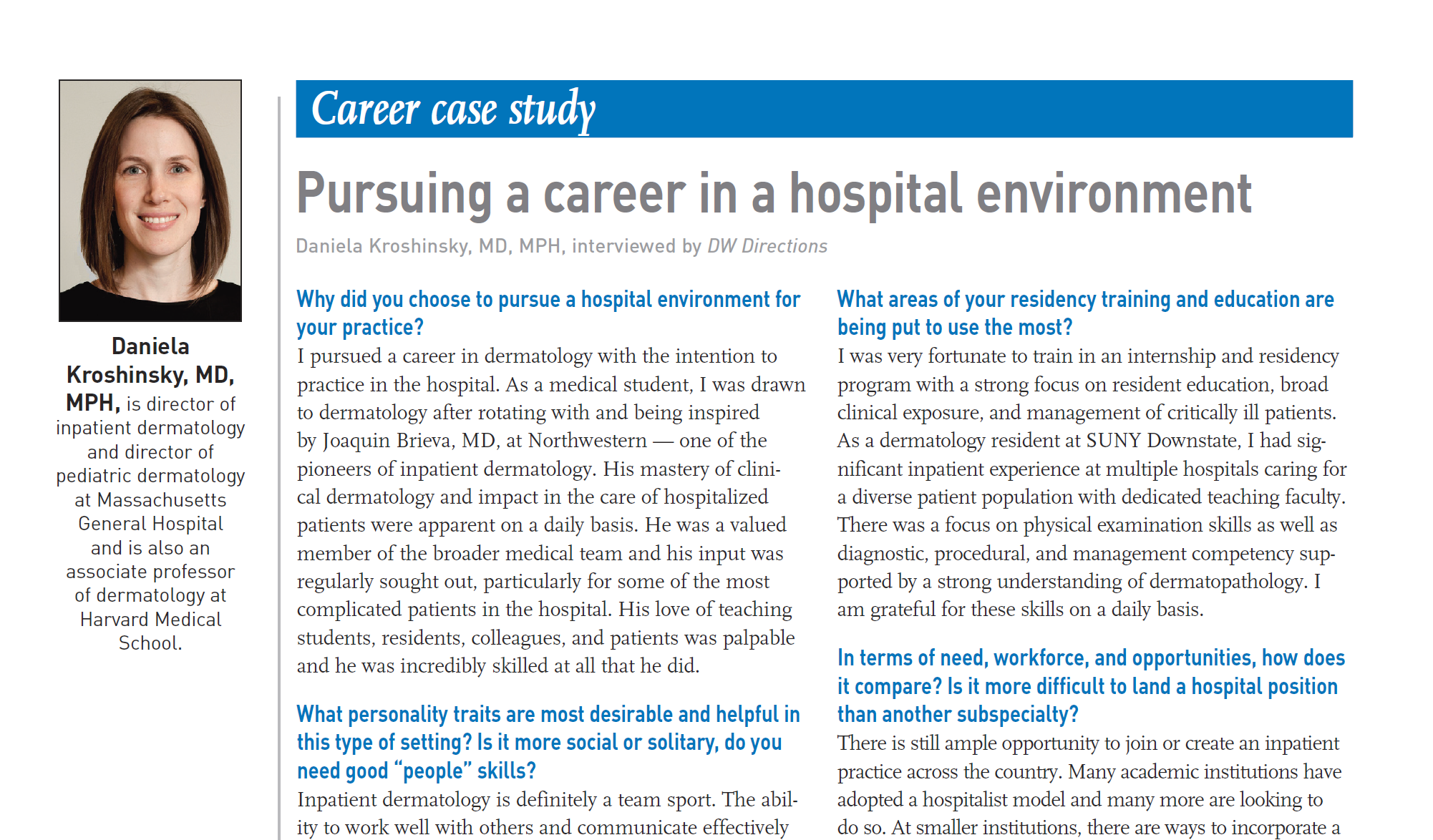 Card illustration of hospital career case study