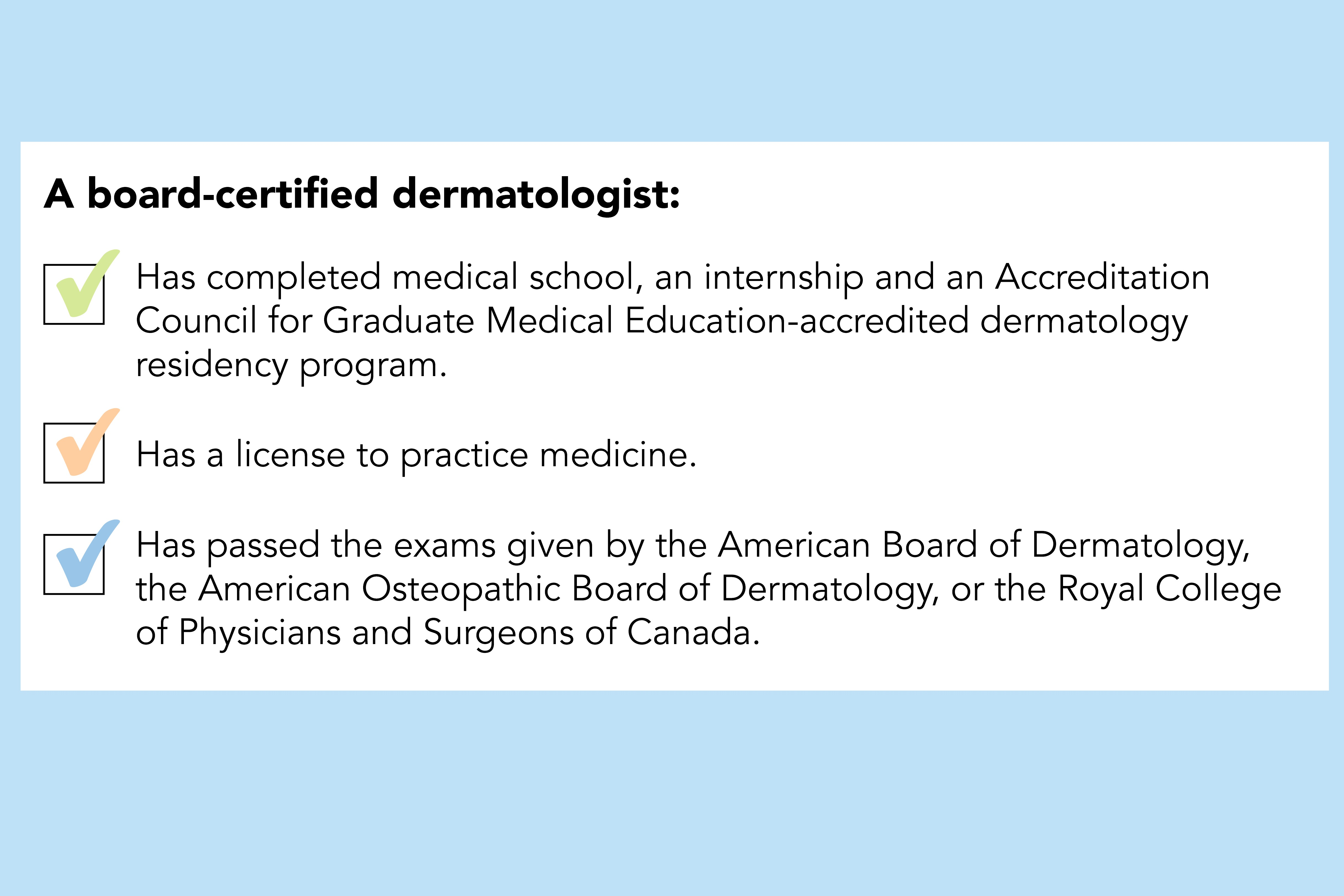 what is a board certified dermatologist infographic
