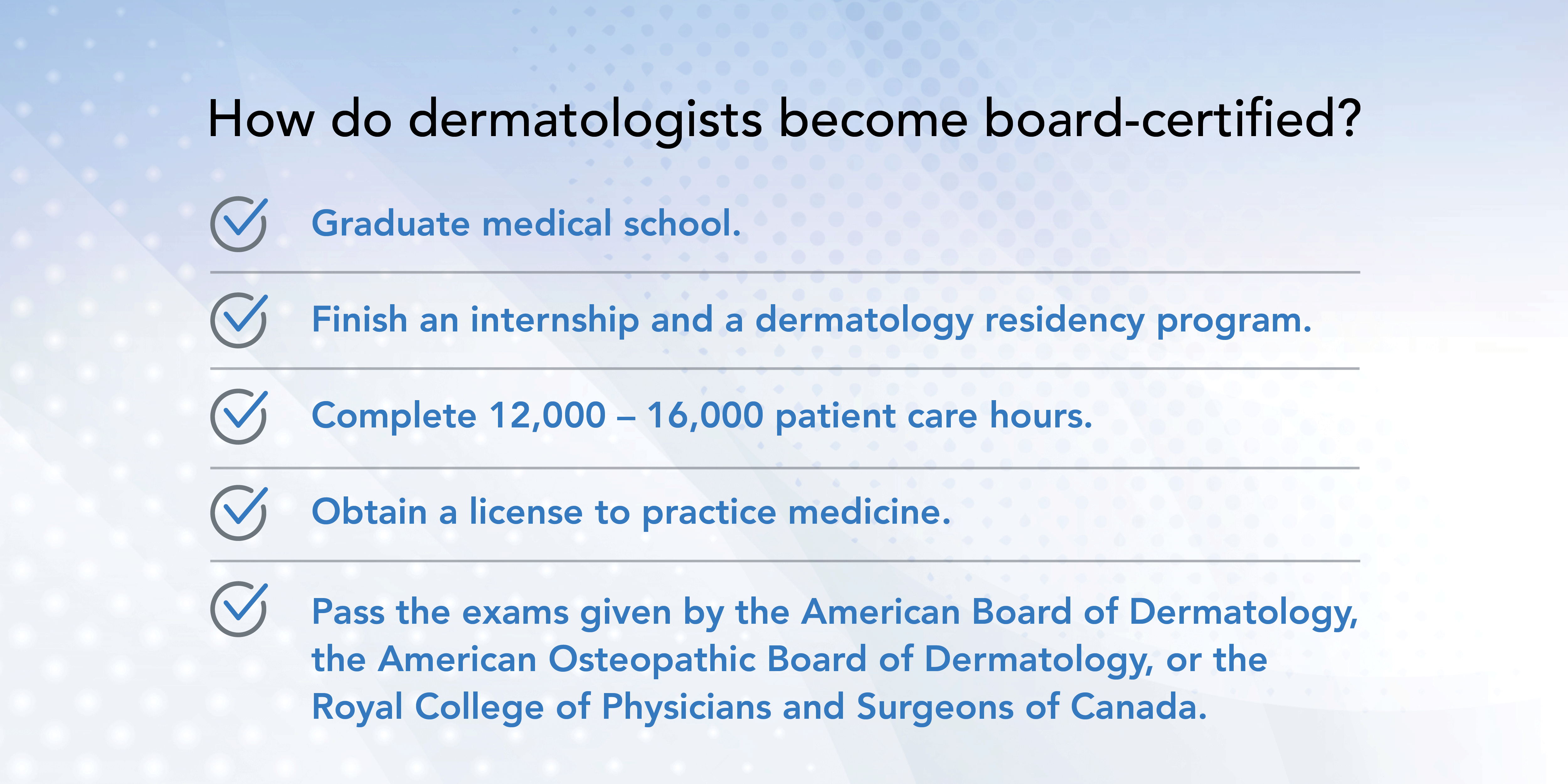 How dermatologists become board-certified infographic.