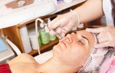 Women getting microdermabrasion