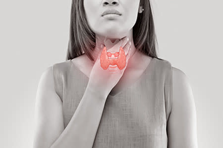 Girl rubbing neck with thyroid gland image overlay