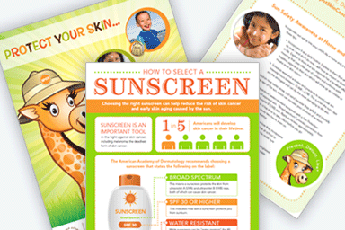 AAD sunscreen info cards