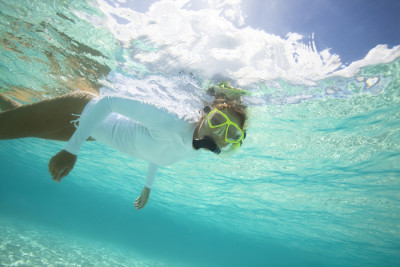 Image of a person snorkeling in the Caribbean