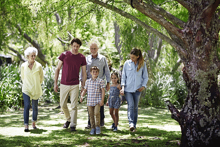 Generational family walking together in park