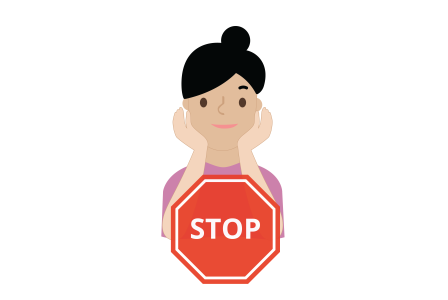 Illustration of a young girl touching her face and a stop sign