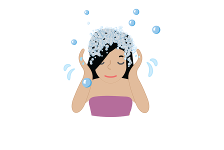Illustration of a young girl washing her hair