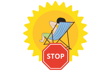 Illustration of a person laying in the sun and a stop sign