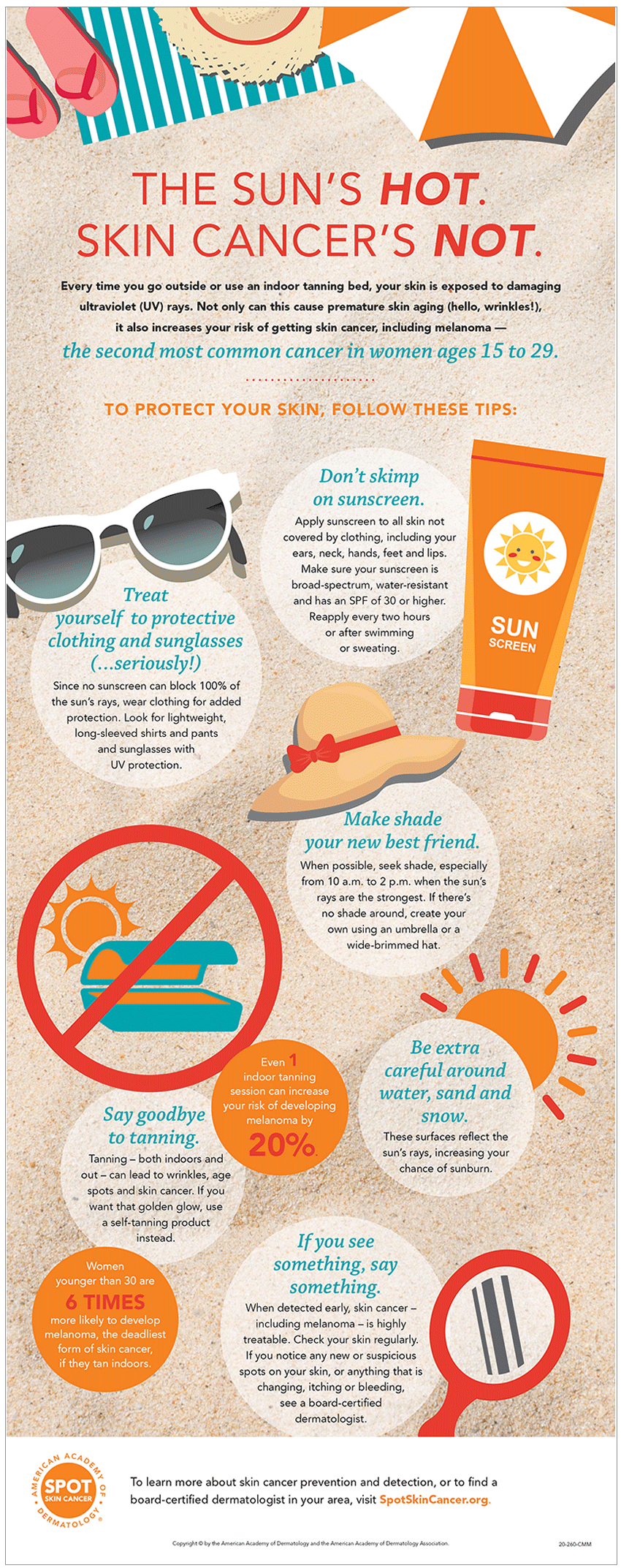 Use this infographic to educate teenage girls about how they can protect their skin and prevent skin cancer.