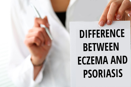 Doctor photo with the text difference between eczema and psoriasis