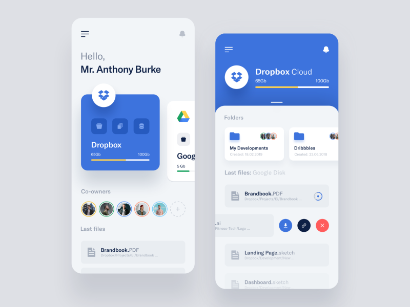 Two instances of horizontal scrolling (https://dribbble.com/shots/6794395)