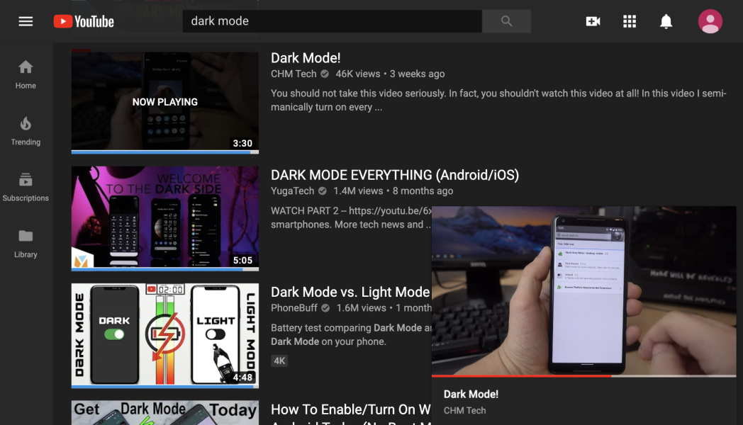 Youtube website in dark mode (youtube.com)