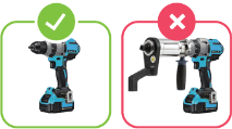 Two different configurations of a drill. One shows a green check mark, the other a red X.