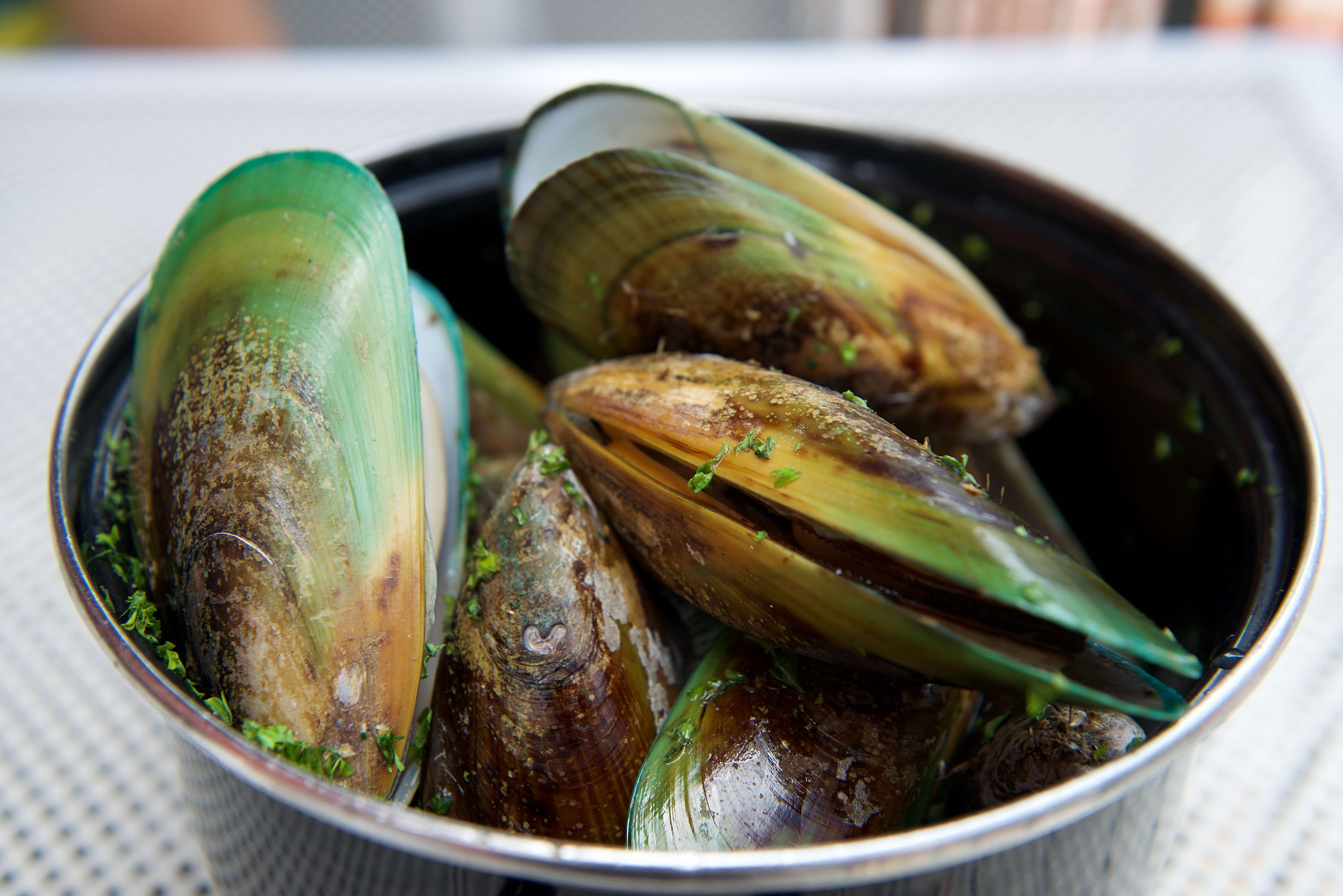 A bowl of green lipped mussels to be used for its anti-inflammatory properties.