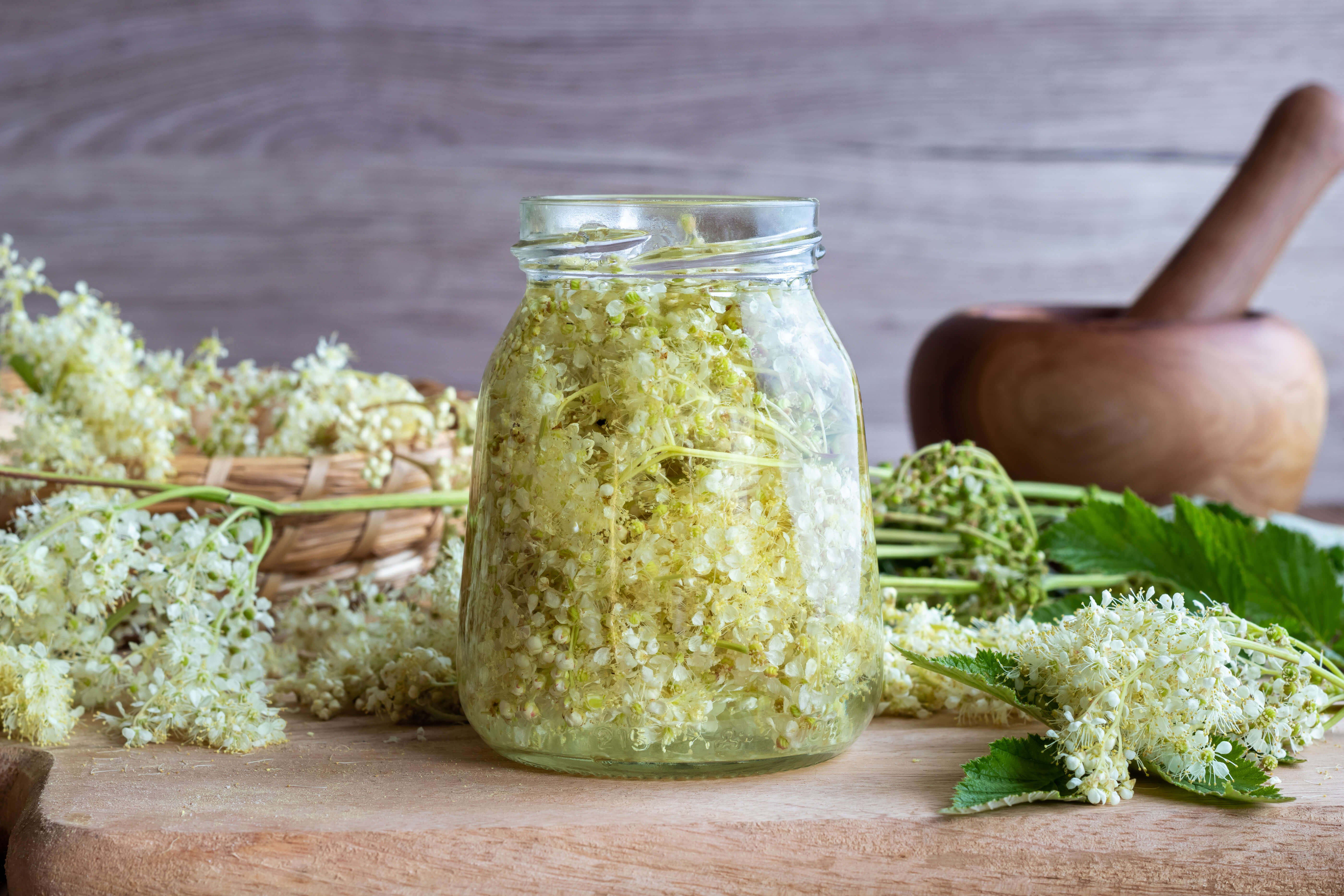 A jar of meadowsweet, to be used for its anti-inflammatory properties.