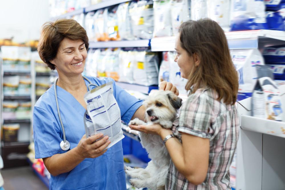 woman buying dog food