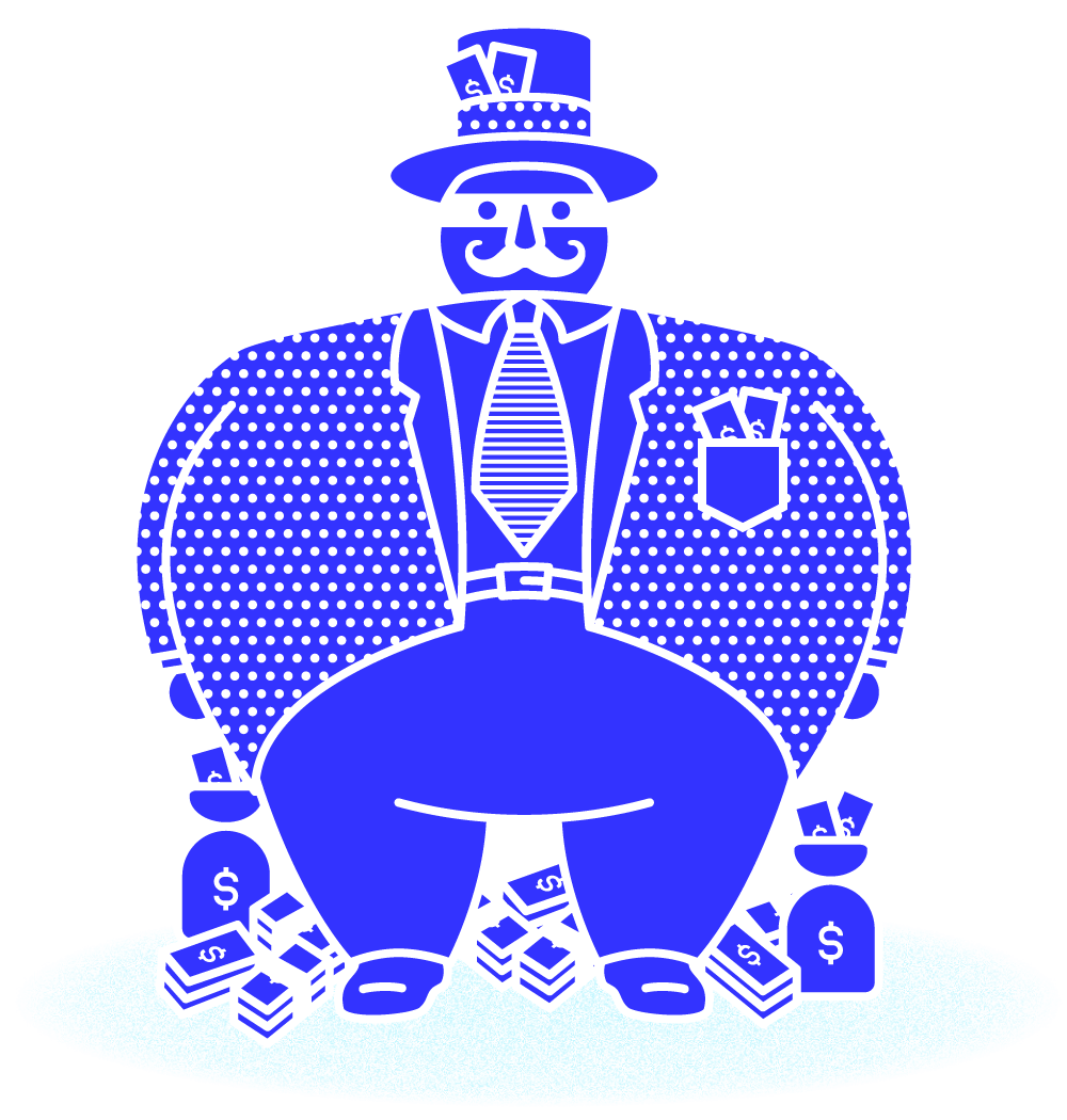 Blue Illustration - Fat Man