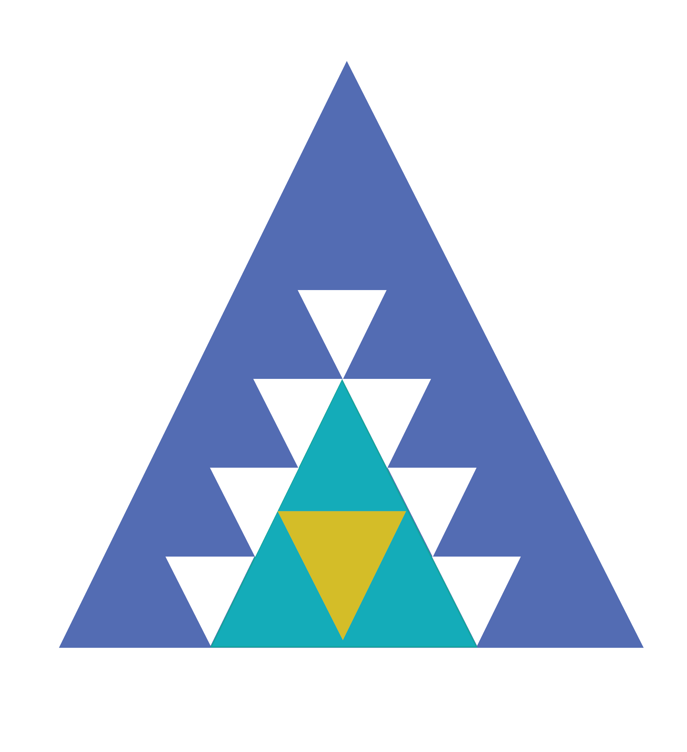 Multiple coloured triangles surrounded by white triangles, designed to represent global challenges