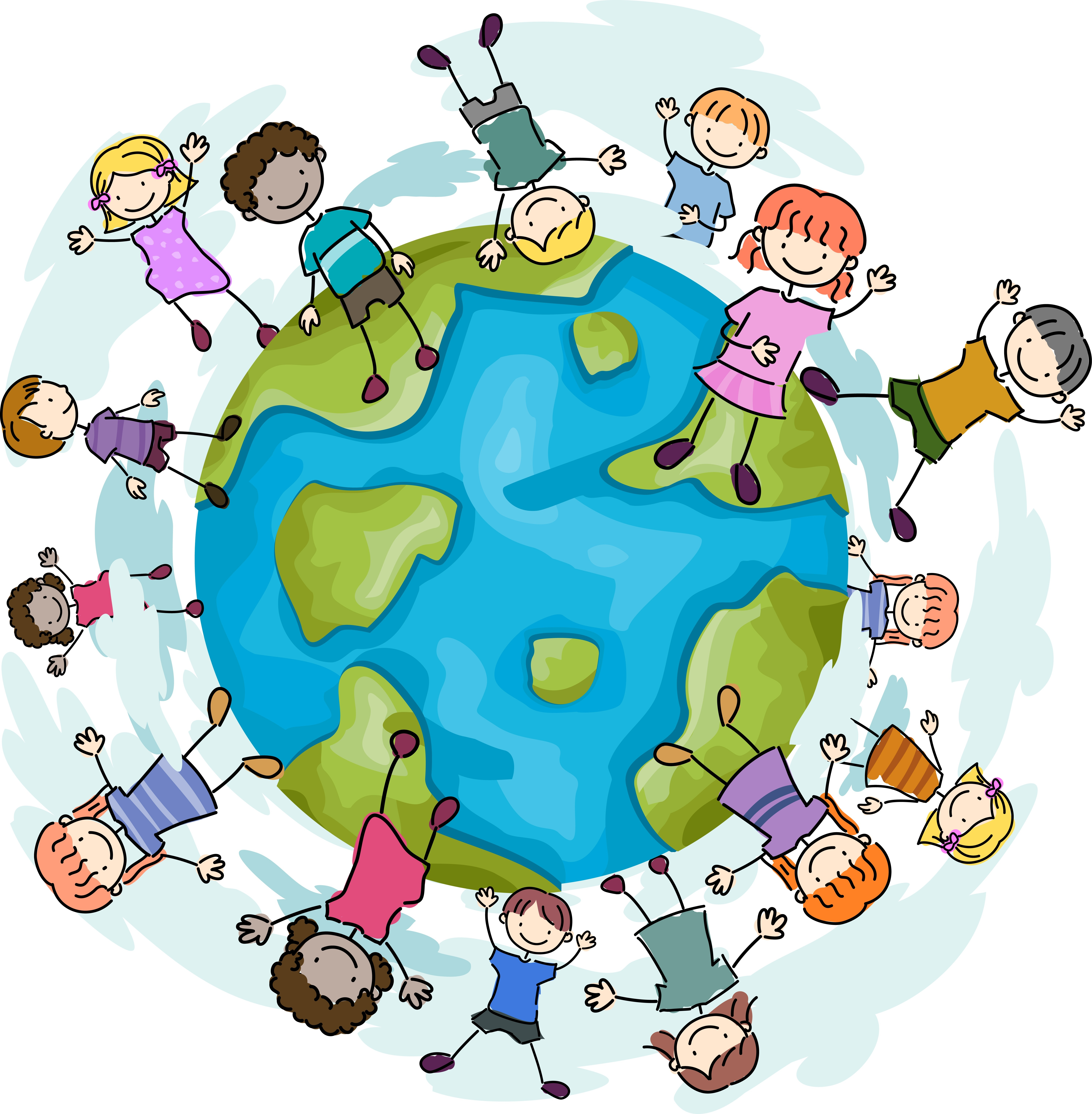 Cartoon images of children jumping happily around a globe.