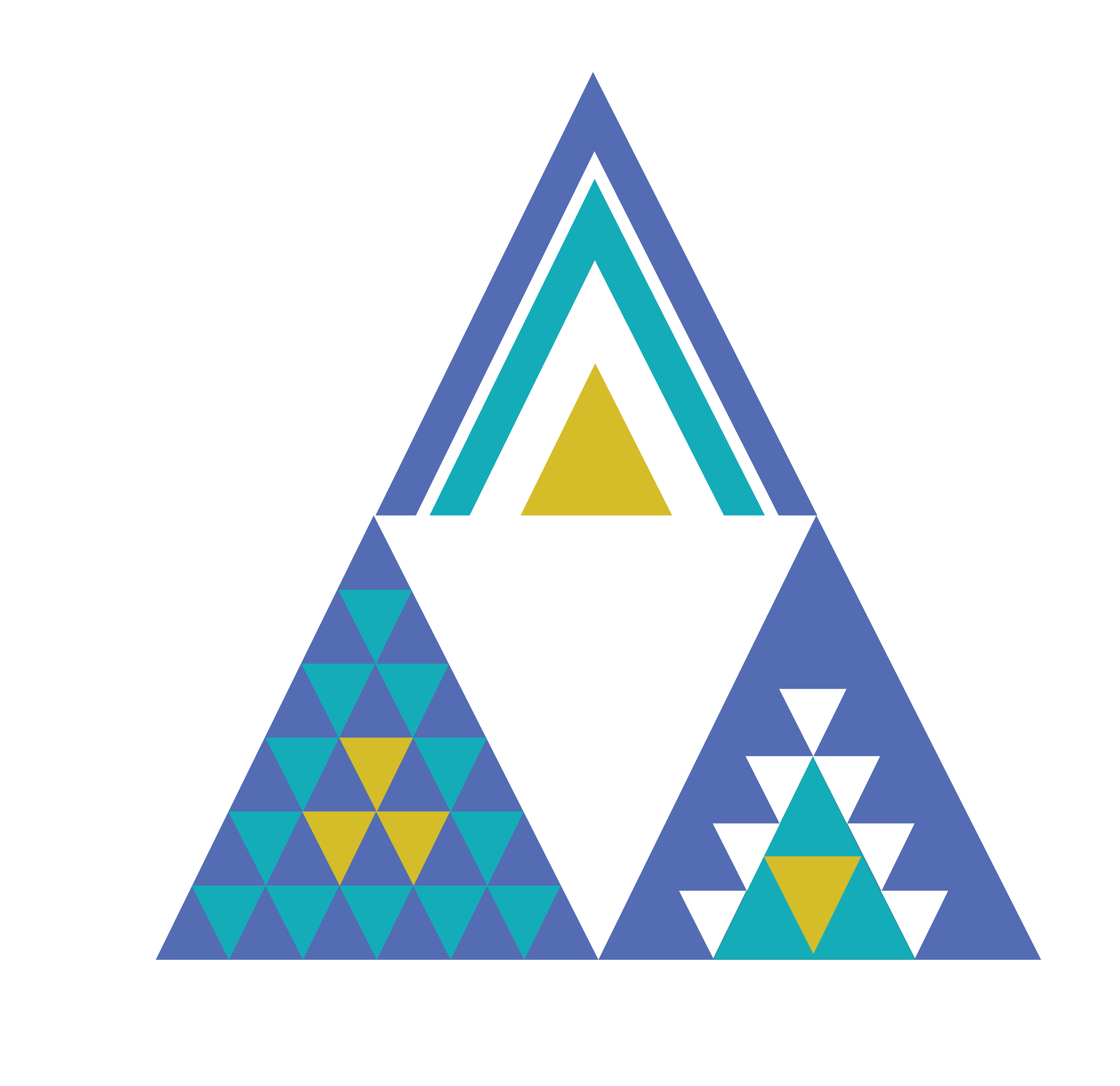 Three triangles designed as logos for each of global identity, global connections, and global challenges