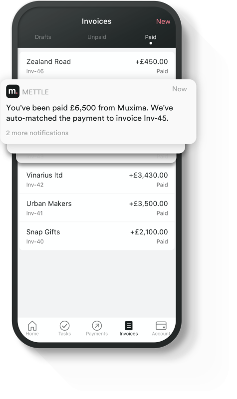 The Mettle app Invoice screen overlaid with a notification that reads 'You've been paid'.