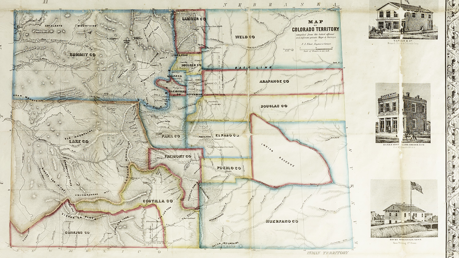 Map of the Colorado Territory from 1862, soon after the theft of Native American land along the front range of the Rocky Mountains