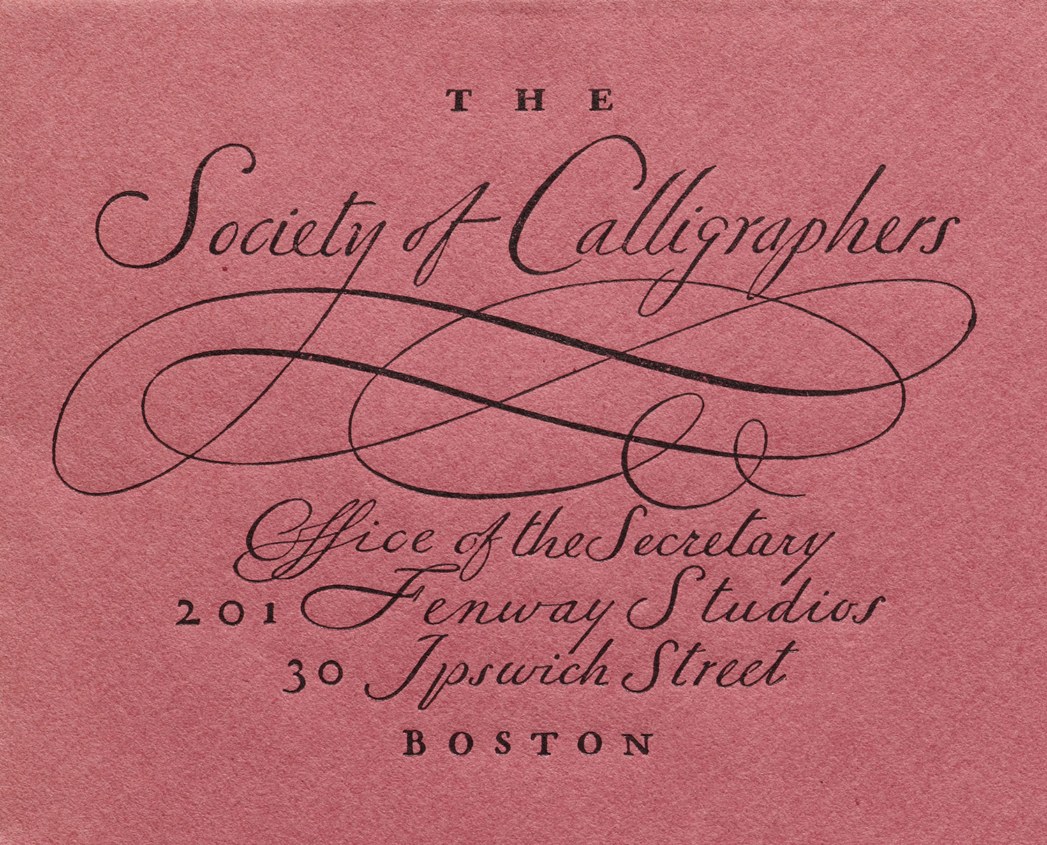Detail of stationery for the Society of Calligraphers