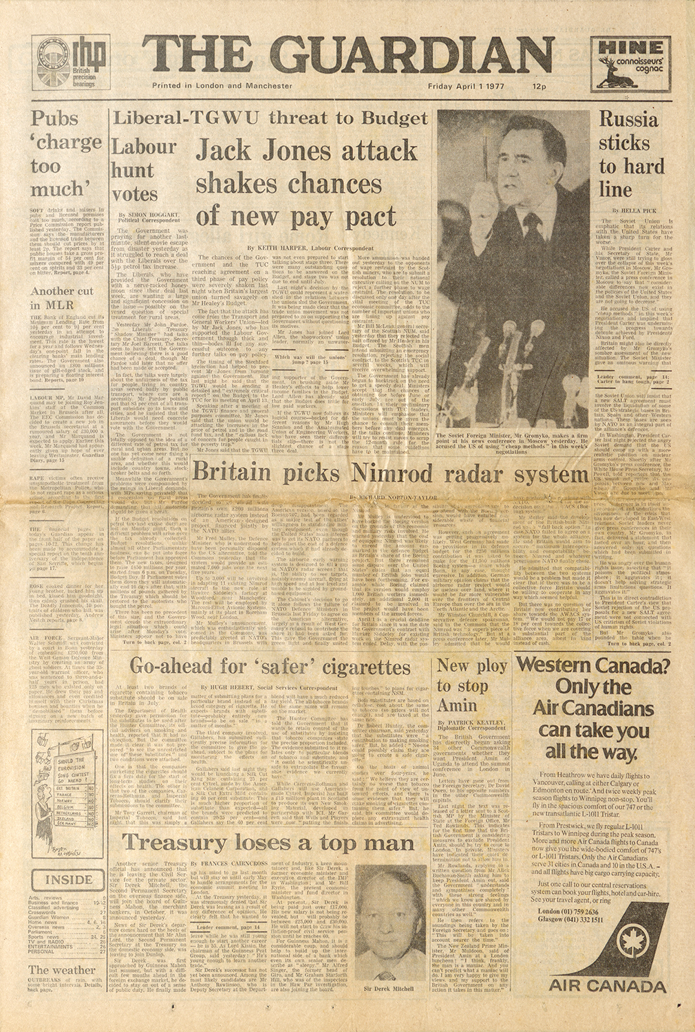 The Guardian Front Page April 1, 1977