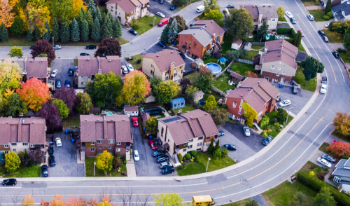 Aerial view of a suburban neighbourhood.