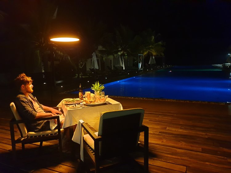Me having a special dinner in Sri Lanka.