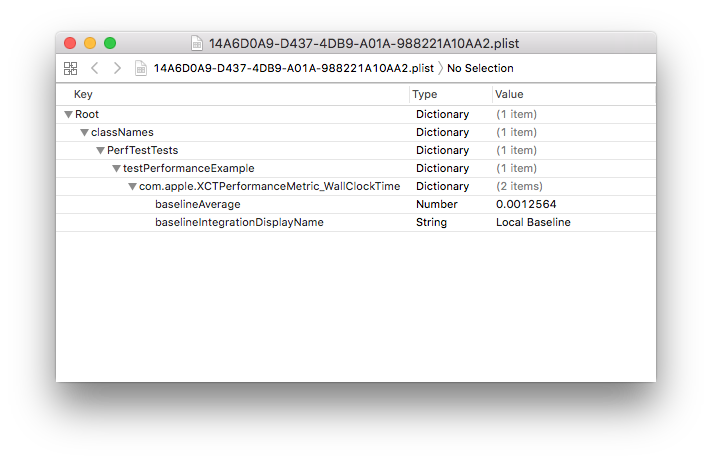 Screenshot showing a plist that belongs to a specific host machine and target combo, containing the test baselines for that combo