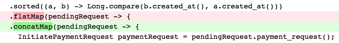 A visible logic change in a pull request.