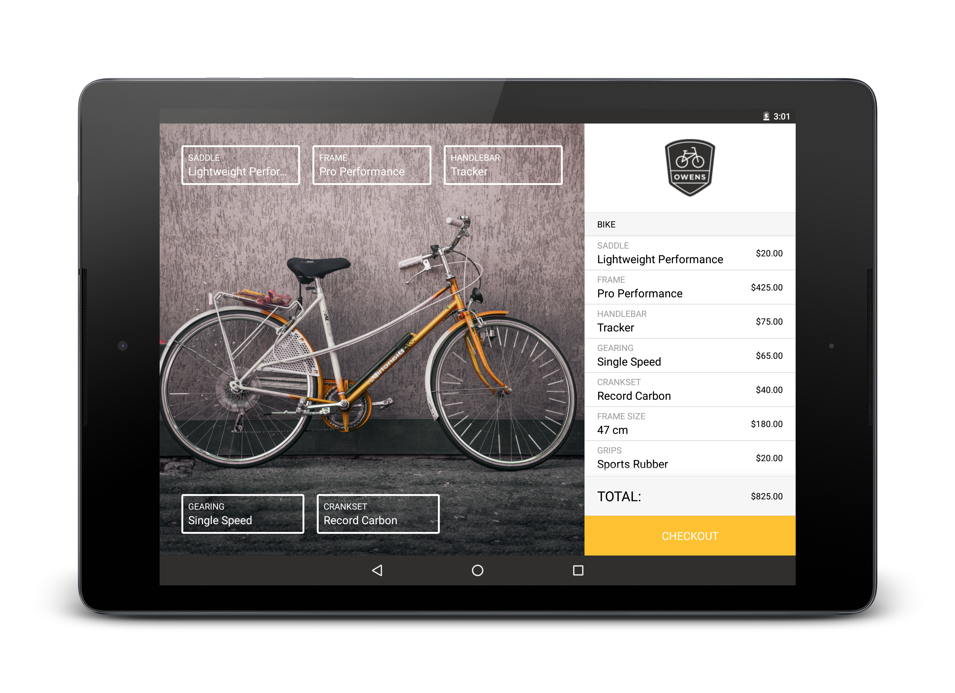 Bikeshop screenshot in landscape
