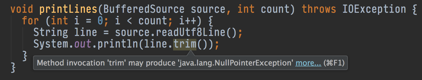 IntelliJ warns about potential NullPointerExceptions