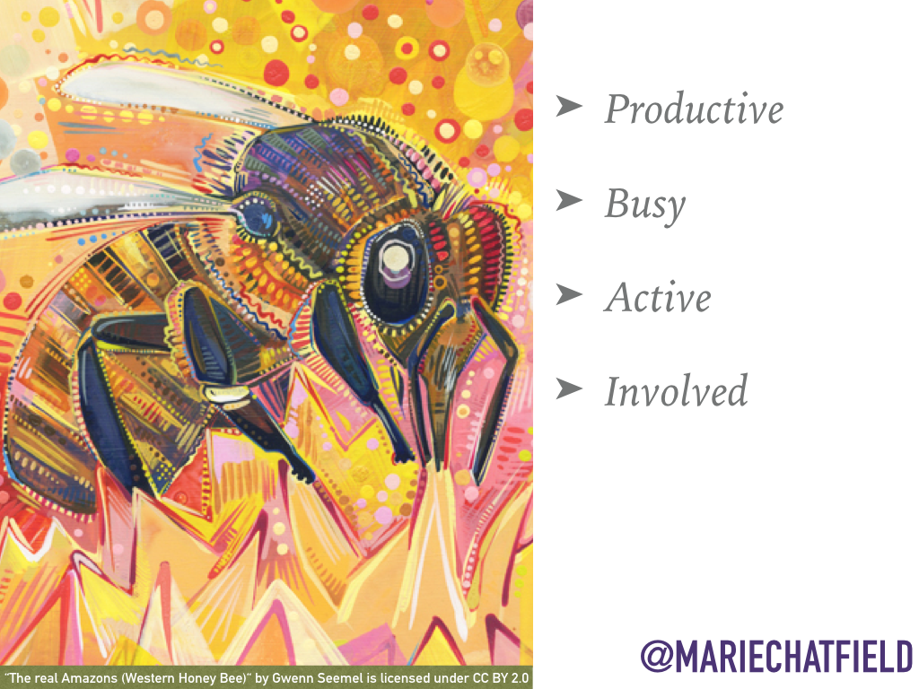 "Productive, Busy, Active, Involved // Art Credit: ""[The real Amazons (Western Honey Bee)](https://flic.kr/p/fntshC)"" by Gwenn Seemel, licensed under CC BY 2.0"