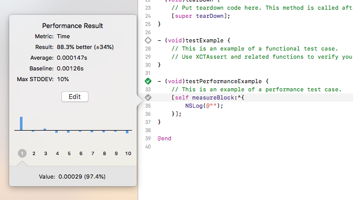 Screenshot of a performance unit test written in Objective-C in Xcode
