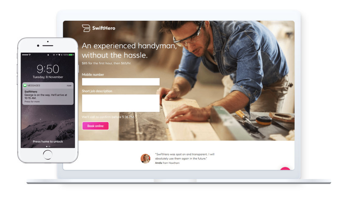 SwiftHero helps connect tradespeople to consumers and streamline the payment process using Square's Point of Sale API