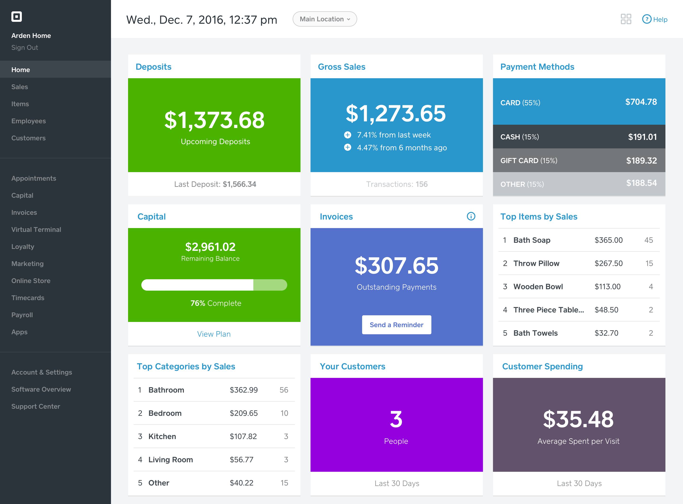 Image: A screenshot of the Square Seller Dashboard