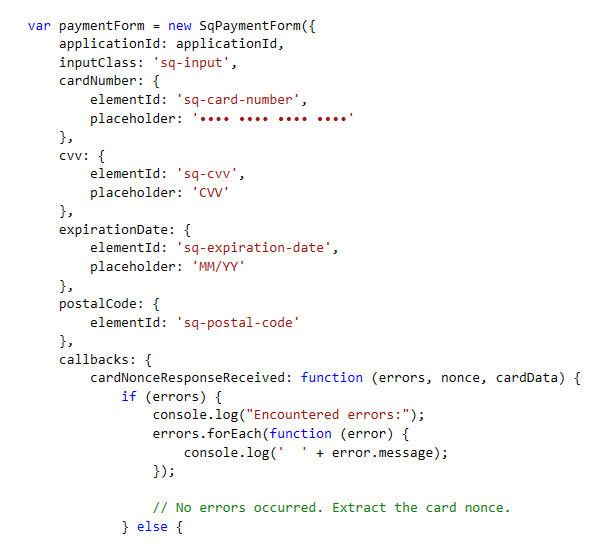 Code Snippet Depicting the SqPaymentForm Javascript in Action.