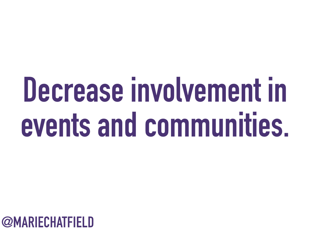 Decrease involvement in events and communities.