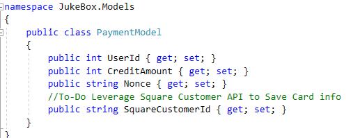 Code Snippet depicting API Payment Model