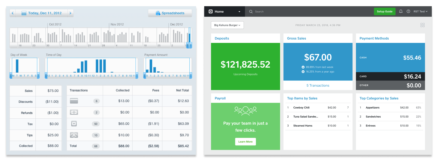 Square Dashboard circa 2012 versus Square Dashboard in the near future