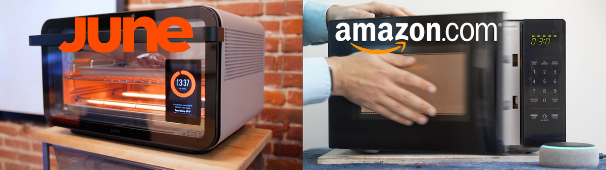 The June Oven & AmazonBasics Microwave.
