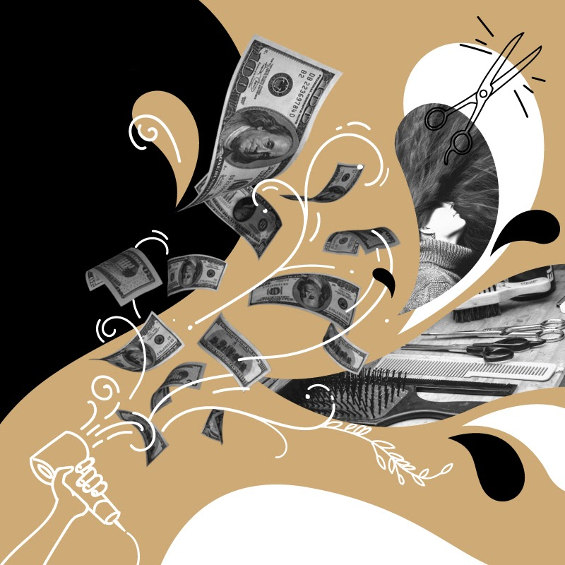 Illustration of a blow dryer blowing swirling money